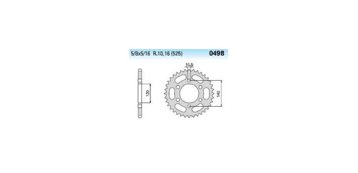 Chiaravalli - Carat rozeta 498-44 zubov THF (525-5-8x5-16)