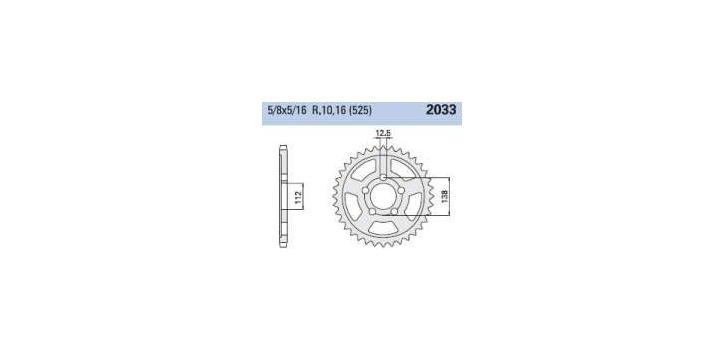 Chiaravalli - Carat rozeta 2033-47 zubov THF (525-5-8x5-16)