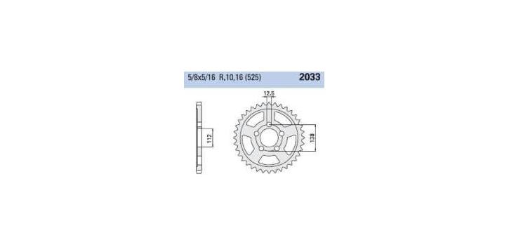 Chiaravalli - Carat rozeta 2033-44 zubov THF (525-5-8x5-16)