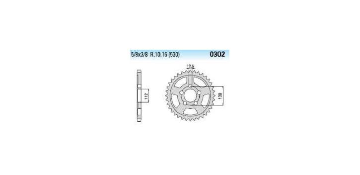 Chiaravalli - Carat rozeta 302-44 zubov THF (530-5-8x3-8)
