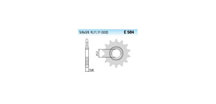 Chiaravalli - Carat Racing sekundár 584-16 zubov KM (520-5-8x1-4)  náhrádza 4074-16 KM