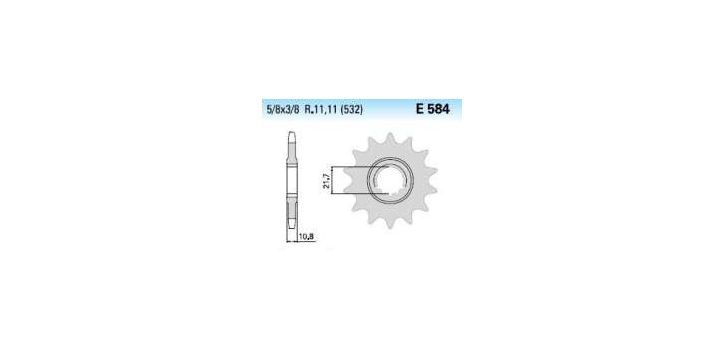 Chiaravalli - Carat Racing sekundár 584-15 zubov KM (520-5-8x1-4)  nahrádza 4074-15 KM
