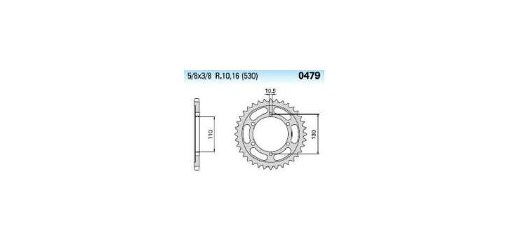 Chiaravalli - Carat Racing rozeta 479-43 zubov EMD (520-5-8x1-4)